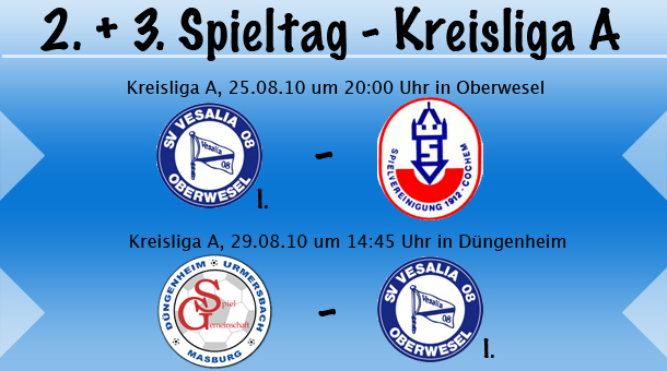2. & 3. Spieltag in der Kreisliga A Hunsrück/Mosel