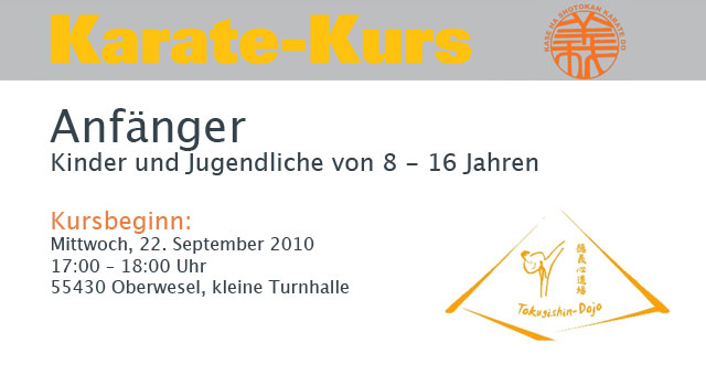 Karate Anfängerkurs startet heute in der kleinen Turnhalle in Oberwesel