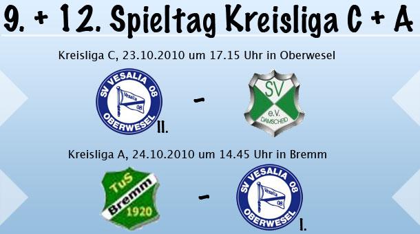 9. und 12. Spieltag in der Kreisliga C & A