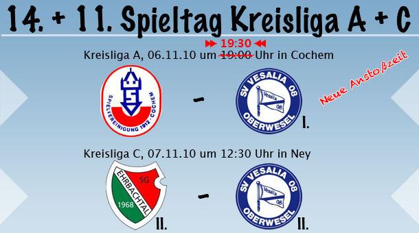 14. und 11. Spieltag in der Kreisliga A & C
