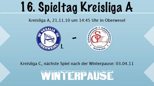 16. Spieltag in der Kreisliga A | 2. Mannschaft bereits in der Winterpause