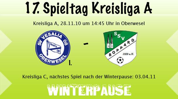 17. Spieltag in der Kreisliga A und letztes Heimspiel vor der Winterpause