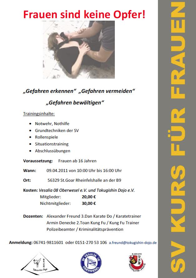 SV Kurs für Frauen ab 16 Jahren am 09.04.2011 von 10.00 Uhr bis 16.00 Uhr in St.Goar.