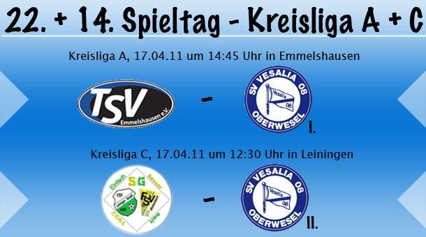 22. & 14. Spieltag in der Kreisliga A & C