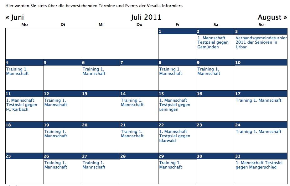 Kalender Update