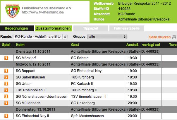 Kreispokal-Achtelfinale 2011