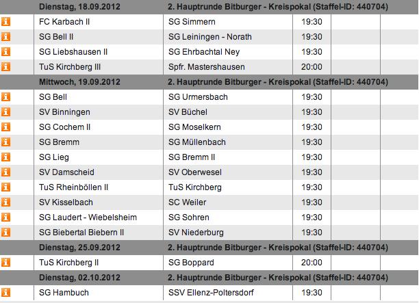 2. Hauptrunde Kreispokal