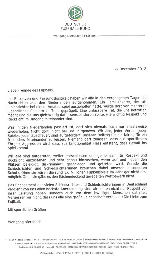 Offener Brief von DFB-Präsident Wolfgang Niersbach
