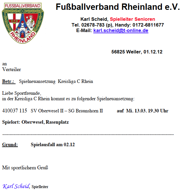 Spielneuansetzung SV Oberwesel II – SG Braunshorn II