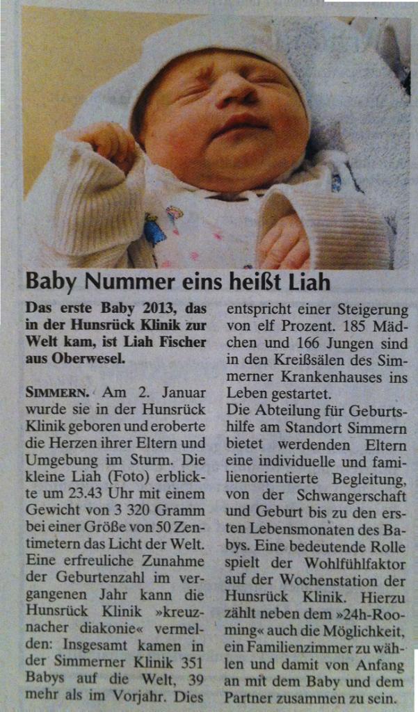 Liah Fischer erstes Baby im Jahr 2013 in der Hunsrück Klinik Simmern