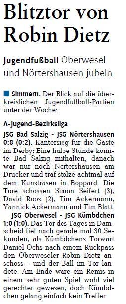 Bericht aus der Rhein-Zeitung, 25.10.2013