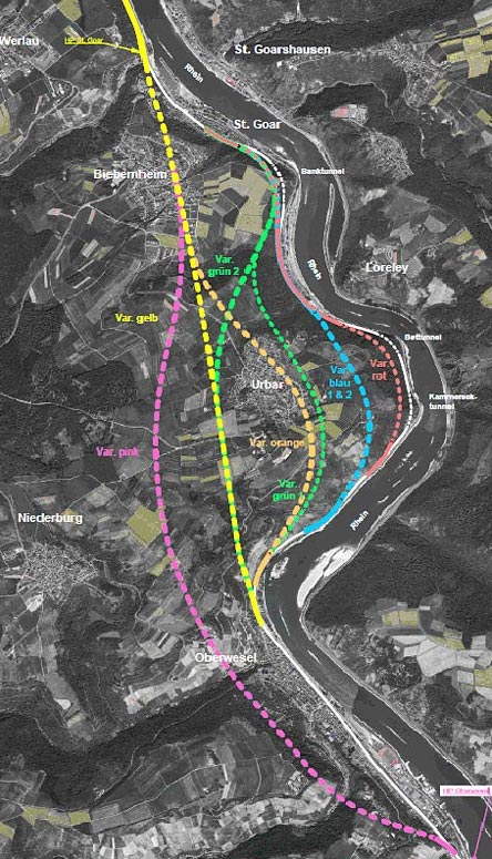 Die BI Oberwesel 22 hat der Bahn die rote Karte gezeigt, so dass die Signale am Oelsberg erst einmal auf rot stehen. Eine neue Trassenführung (Variante pink) wurde von der Deutschen Bahn AG in die Planungen aufgenommen.