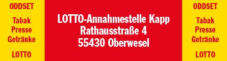 LOTTO-Annahmestelle Kapp | 55430 Oberwesel | Rathausstr. 4 | 06744 / 2310406